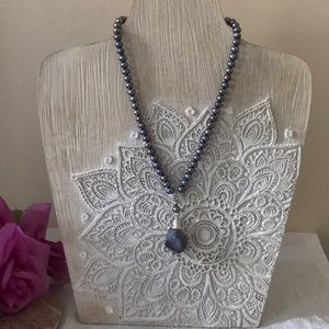 Handmade wire wrapped pearl and stone necklace